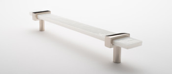 """Sietto, Adjustable, Straight Pull, 9"""" Overall Length, White with Polished Nickel Base, angle 2"""