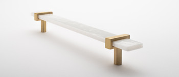 """Sietto, Adjustable, Straight Pull, 9"""" Overall Length, White with Satin Brass Base, angle 2"""