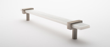 """Sietto, Adjustable, Straight Pull, 9"""" Overall Length, White with Satin Nickel Base, angle 2"""