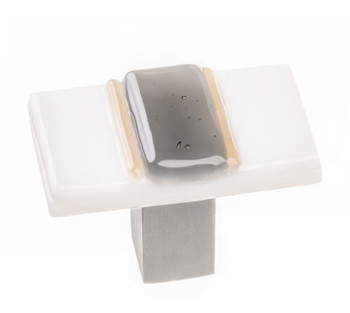 """Sietto, Bandwidth, 1 3/4"""" Rectangle Knob, White and Grey with Satin Nickel Base"""