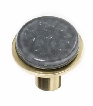 "Sietto, Geometric, 1 1/4"" Round Knob, Slate Grey on Round Satin Brass"