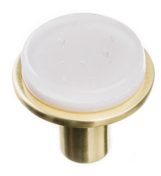 "Sietto, Geometric, 1 1/4"" Round Knob, White on Round Satin Brass"