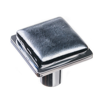 "Sietto, Geometric, 1 1/4"" Square Knob, Irid Black on Square Polished Chrome"