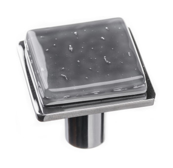 "Sietto, Geometric, 1 1/4"" Square Knob, Slate Grey on Square Polished Chrome"