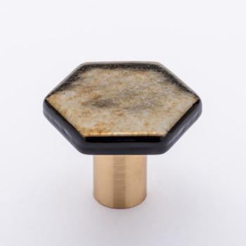 "Sietto, Hexagon, 1 1/4"" Hexagon Knob, Irid Gold Black with Satin Brass Base"