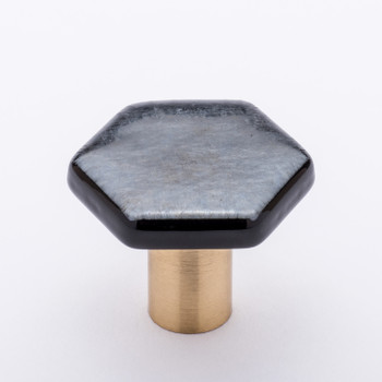 "Sietto, Hexagon, 1 1/4"" Hexagon Knob, Irid Silver Black with Satin Brass Base"