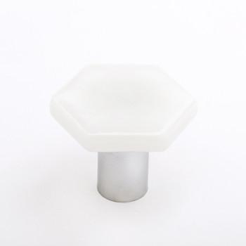 """Sietto, Hexagon, 1 1/4"""" Hexagon Knob, Irid White with Polished Chrome Base"""
