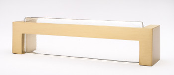 "Sietto, Skyline, 5 3/8"" Straight Pull, Clear with Satin Brass Base"