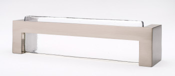"Sietto, Skyline, 5 3/8"" Straight Pull, Clear with Satin Nickel Base"