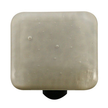 "Aquila Art Glass, Solids, 1 1/2"" Square Knob, Deco Gray"
