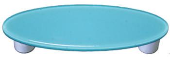 "Aquila Art Glass, Solids, 3"" Oval Straight Pull, Light Cyan"