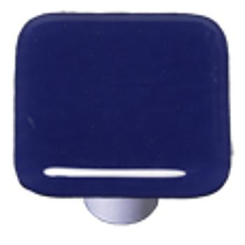 """Aquila Art Glass, Solids, 1 1/2"""" Square Knob, Indigo Blue"""