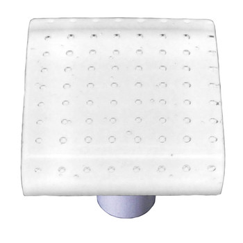 "Aquila Art Glass, Bubbles, 1 1/2"" Square Knob, White"