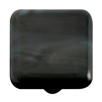 "Aquila Art Glass, Swirls, 1 1/2"" Square Knob, Charcoal Swirl"