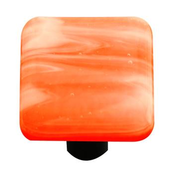 "Aquila Art Glass, Swirls, 1 1/2"" Square Knob, White Swirl on Opal Orange"