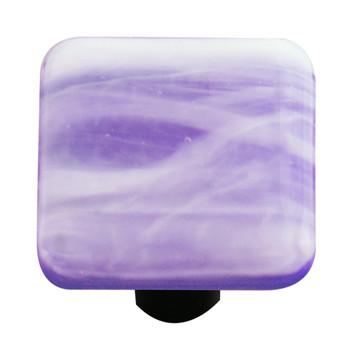 "Aquila Art Glass, Swirls, 1 1/2"" Square Knob, White Swirl on Cobalt Blue"