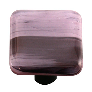 "Aquila Art Glass, Swirls, 1 1/2"" Square Knob, Black Swirl on Dusty Lilac"