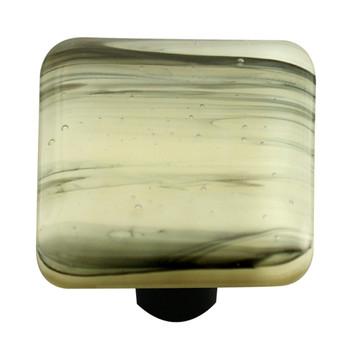 "Aquila Art Glass, Swirls, 1 1/2"" Square Knob, Black Swirl on French Vanilla"