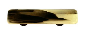"Aquila Art Glass, Swirls, 3"" Straight Pull, Black Swirl on French Vanilla"