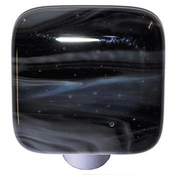 "Aquila Art Glass, Swirls, 1 1/2"" Square Knob, White Swirl on Black"