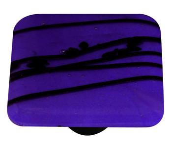 """Aquila Art Glass, Mardi Gras, 1 1/2"""" Square Knob, Black and Cobalt Blue"""