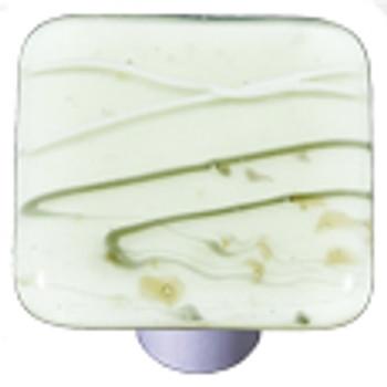"Aquila Art Glass, Mardi Gras, 1 1/2"" Square Knob, French Vanilla and French Vanilla"
