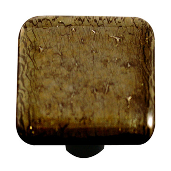 "Aquila Art Glass, Metal, 1 1/2"" Square Knob, Gold Irid"