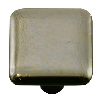 "Aquila Art Glass, Metal, 1 1/2"" Square Knob, Silver"