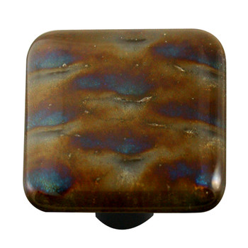 "Aquila Art Glass, Metal, 1 1/2"" Square Knob, Patterned Irid"