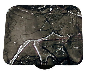 "Aquila Art Glass, Metal, 1 1/2"" Square Knob, Fractures Slate"