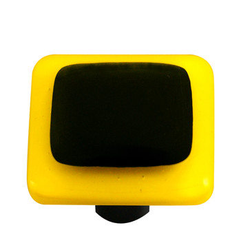 "Aquila Art Glass, Borders, 1 1/2"" Square Knob, Sunflower Yellow Border Black"