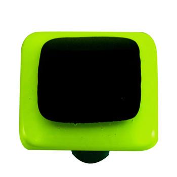 "Aquila Art Glass, Borders, 1 1/2"" Square Knob, Spring Green Border Black"