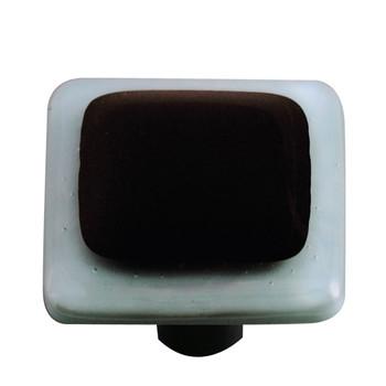 "Aquila Art Glass, Borders, 1 1/2"" Square Knob, Powder Blue Border Black"
