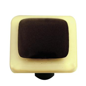 "Aquila Art Glass, Borders, 1 1/2"" Square Knob, French Vanilla Border Black"