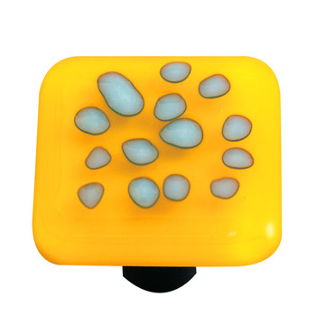 "Aquila Art Glass, Reactive, 1 1/2"" Square Knob, Clear Sunflower Yellow"