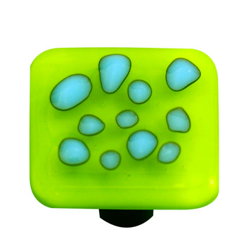 "Aquila Art Glass, Reactive, 1 1/2"" Square Knob, Clear Spring Green"