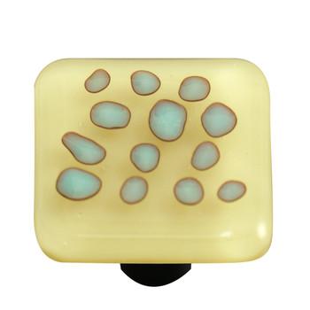 "Aquila Art Glass, Reactive, 1 1/2"" Square Knob, Clear French Vanilla"
