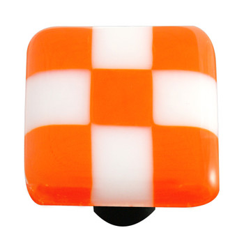 "Aquila Art Glass, Lil Squares, 1 1/2"" Square Knob, Opal Orange White Squares"