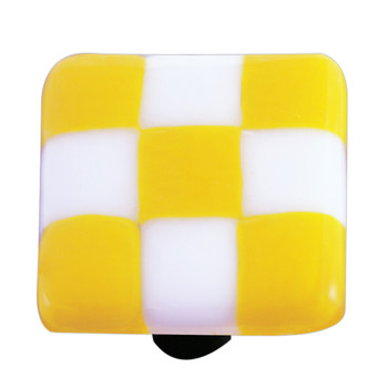 "Aquila Art Glass, Lil Squares, 1 1/2"" Square Knob, Sunflower Yellow White Squares"