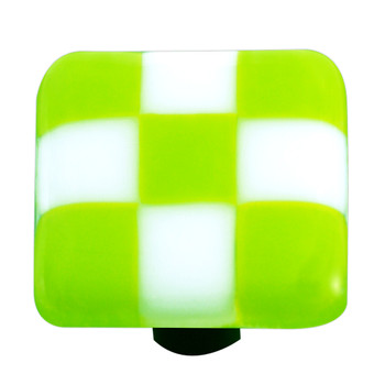 "Aquila Art Glass, Lil Squares, 1 1/2"" Square Knob, Spring Green White Squares"