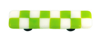 "Aquila Art Glass, Lil Squares, 3"" Straight Pull, Spring Green White Squares"
