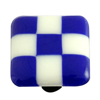 """Aquila Art Glass, Lil Squares, 1 1/2"""" Square Knob, Cobalt Blue White Squares"""