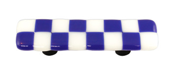 "Aquila Art Glass, Lil Squares, 3"" Straight Pull, Cobalt Blue White Squares"