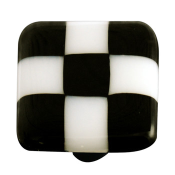 "Aquila Art Glass, Lil Squares, 1 1/2"" Square Knob, Black White Squares"