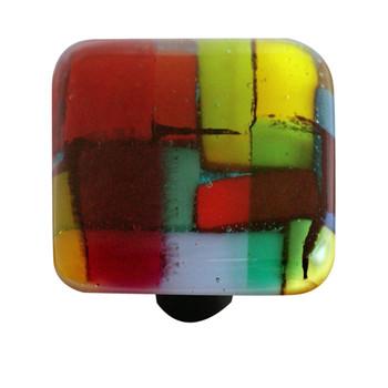"Aquila Art Glass, Mosaic, 1 1/2"" Square Knob, Multiple Color"