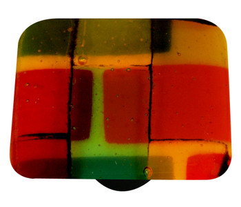 "Aquila Art Glass, Mosaic, 1 1/2"" Square Knob, Autumn"