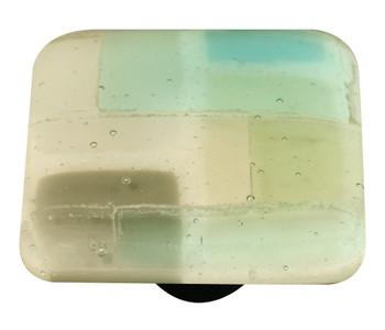 "Aquila Art Glass, Mosaic, 1 1/2"" Square Knob, Winter"