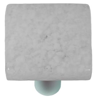 "Aquila Art Glass, Granite, 1 1/2"" Square Knob, Clear and White"