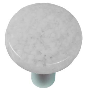 "Aquila Art Glass, Granite, 1 1/2"" Round Knob, Clear and White"