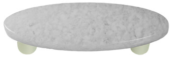 """Aquila Art Glass, Granite, 3"""" Oval Straight Pull, Clear and White"""